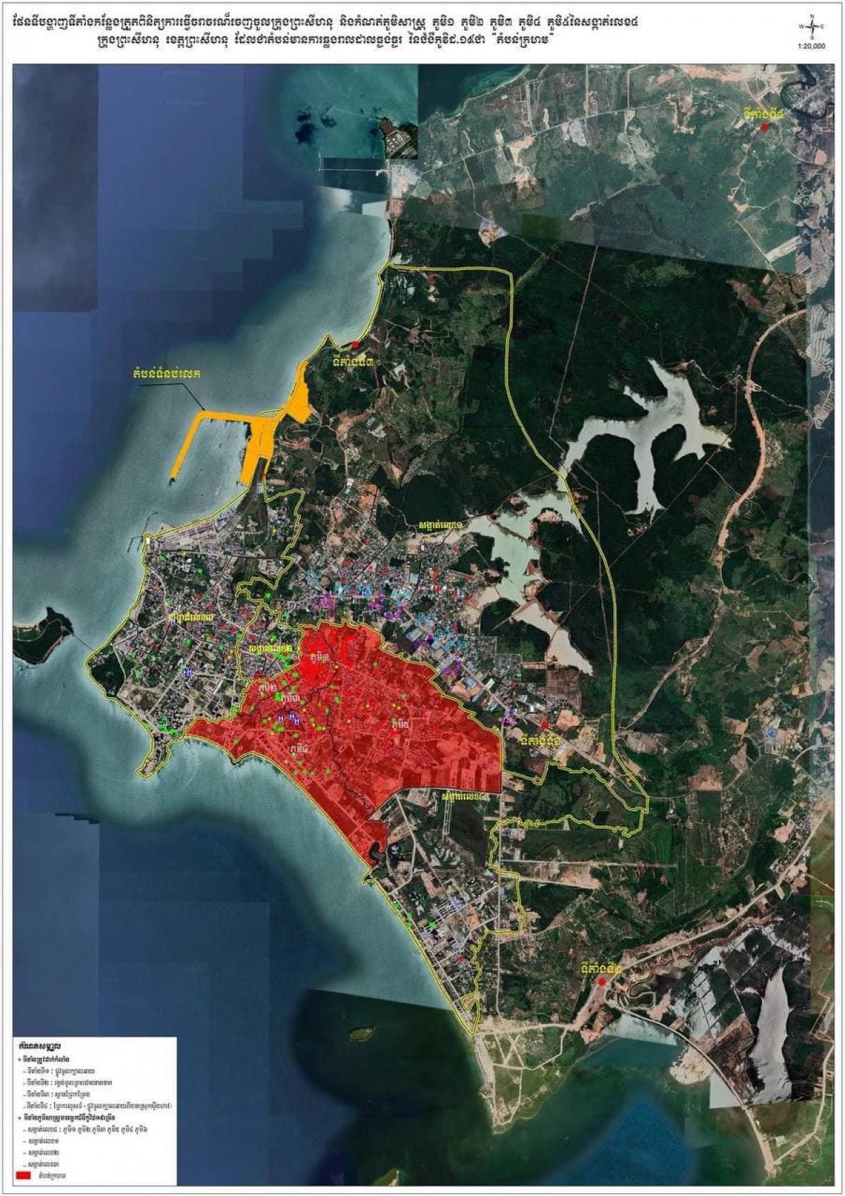 """Bản đồ quy định """"vùng đỏ"""" tại thành phố Preah Sihanouk. Ảnh: Chính quyền tỉnh Preah Sihanouk"""