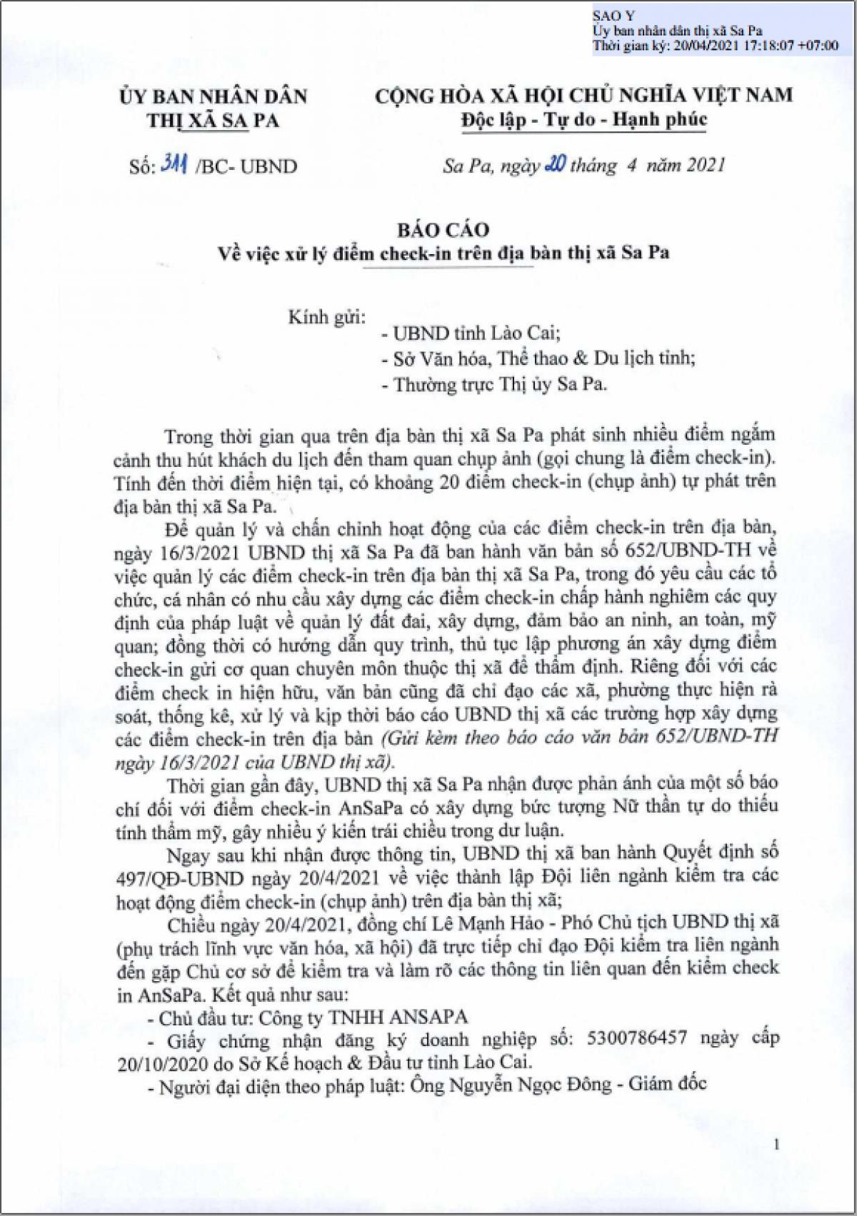 Văn bản của UBND thị xã Sa Pa