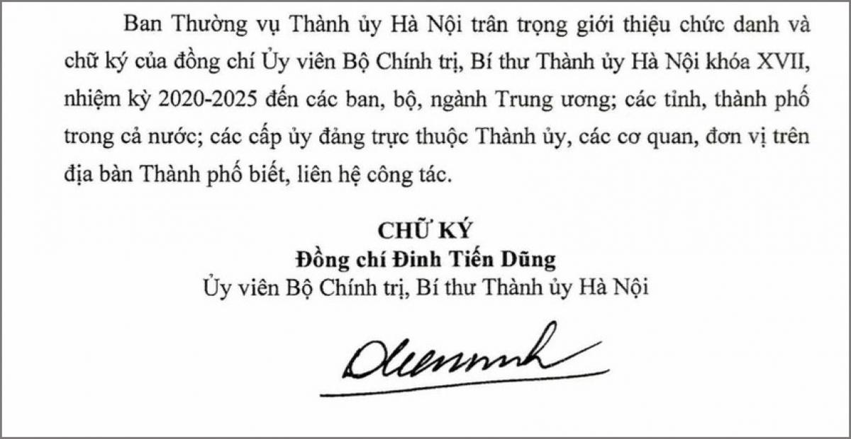 Thông báo giới thiệu chữ ký của Bí thư Thành ủy Hà Nội Đinh Tiến Dũng.