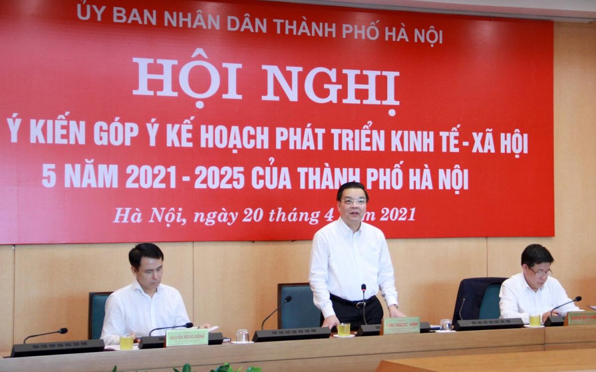Chủ tịch UBND TP Hà Nội Chu Ngọc Anh phát biểu tại hội nghị