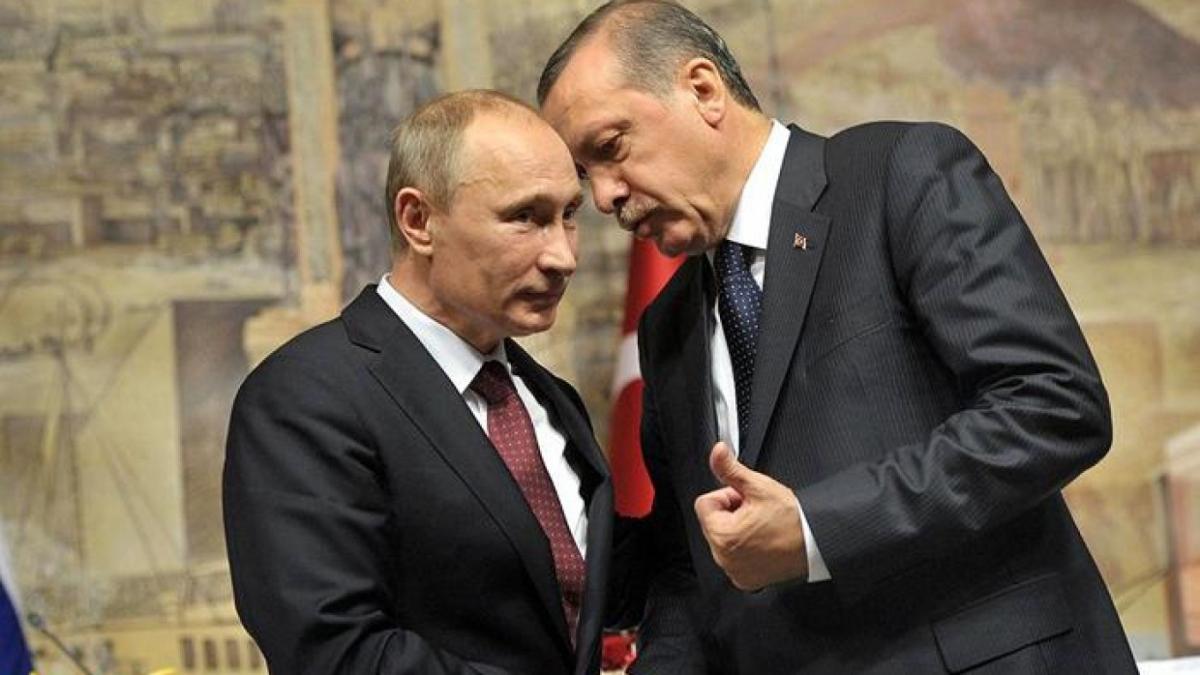 Tổng thống Nga Putin và Tổng thống Thổ Nhĩ Kỳ Erdogan. Ảnh: Bloomberg