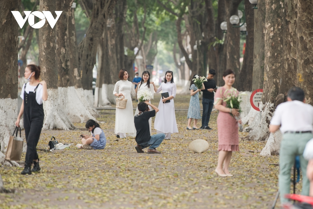 Hanoians carrying lilies flowers pause to pose for photos on Phan Dinh Phung street.