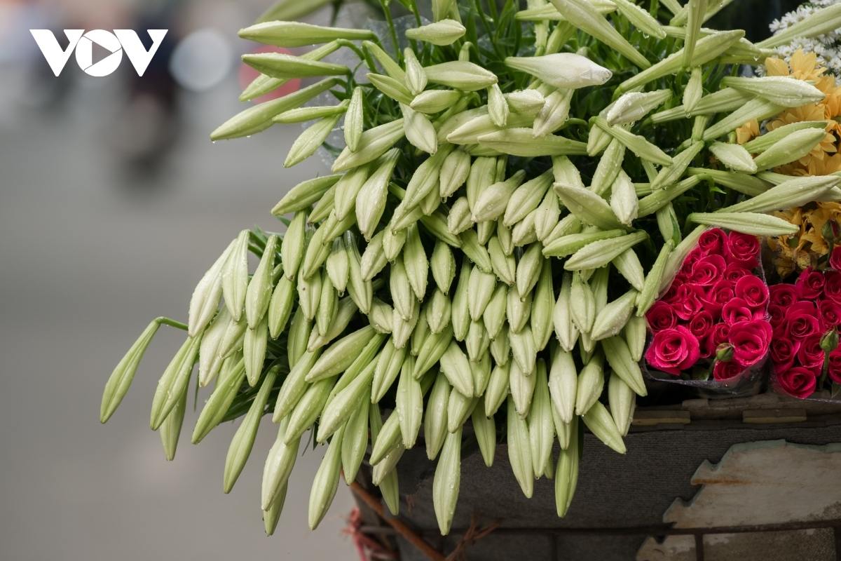 Street vendors must pour water on the flowers to keep them fresh all day.