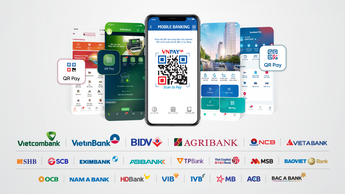 Tiện ích thanh toán VNPAY-QR hiện diện trên nhiều ứng dụng ngân hàng.