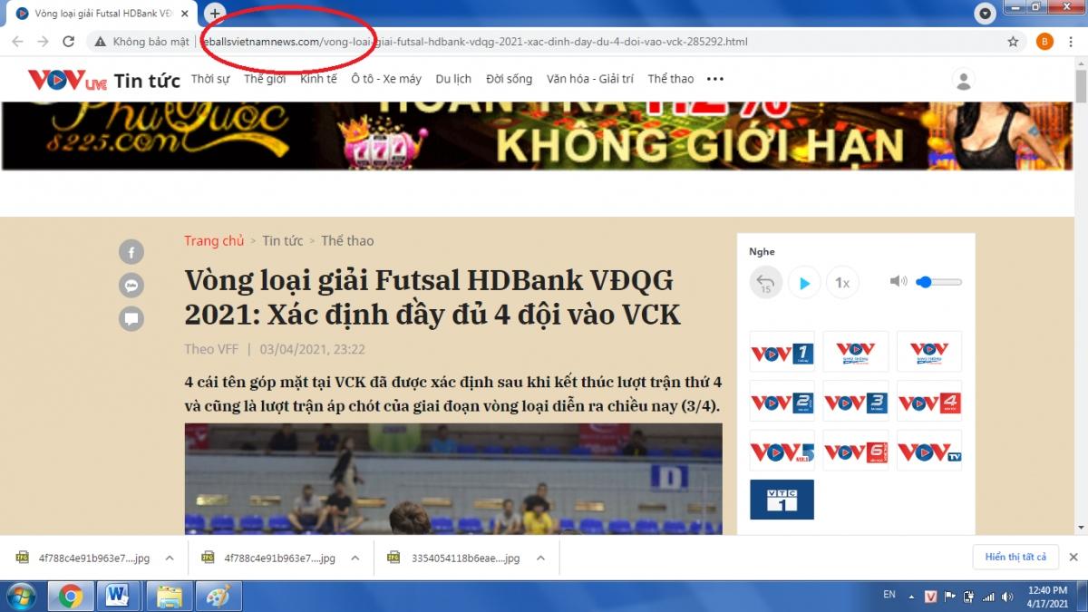 Website mạo danh VOV (tên miền trong vòng đỏ).