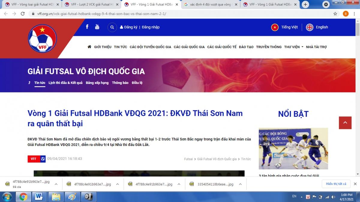Website của Liên đoàn Bóng đá Việt Nam.