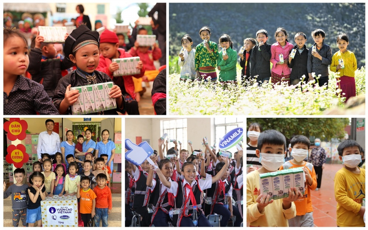 """Niềm vui của các em nhỏ được thụ hưởng từ chương trình """"Quỹ sữa Vươn cao Việt Nam"""" trong năm 2020"""