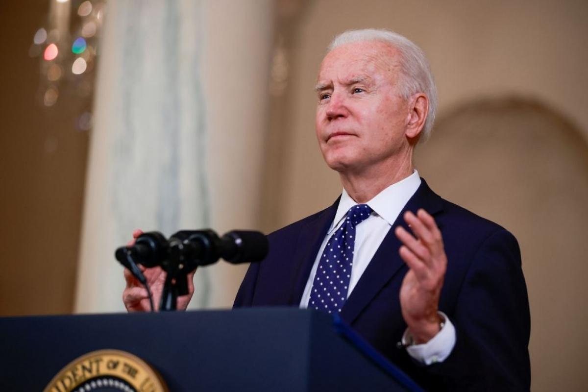 Tổng thống Mỹ Joe Biden phát biểu tại Nhà trắng ngày 20/4. Ảnh: Reuters.