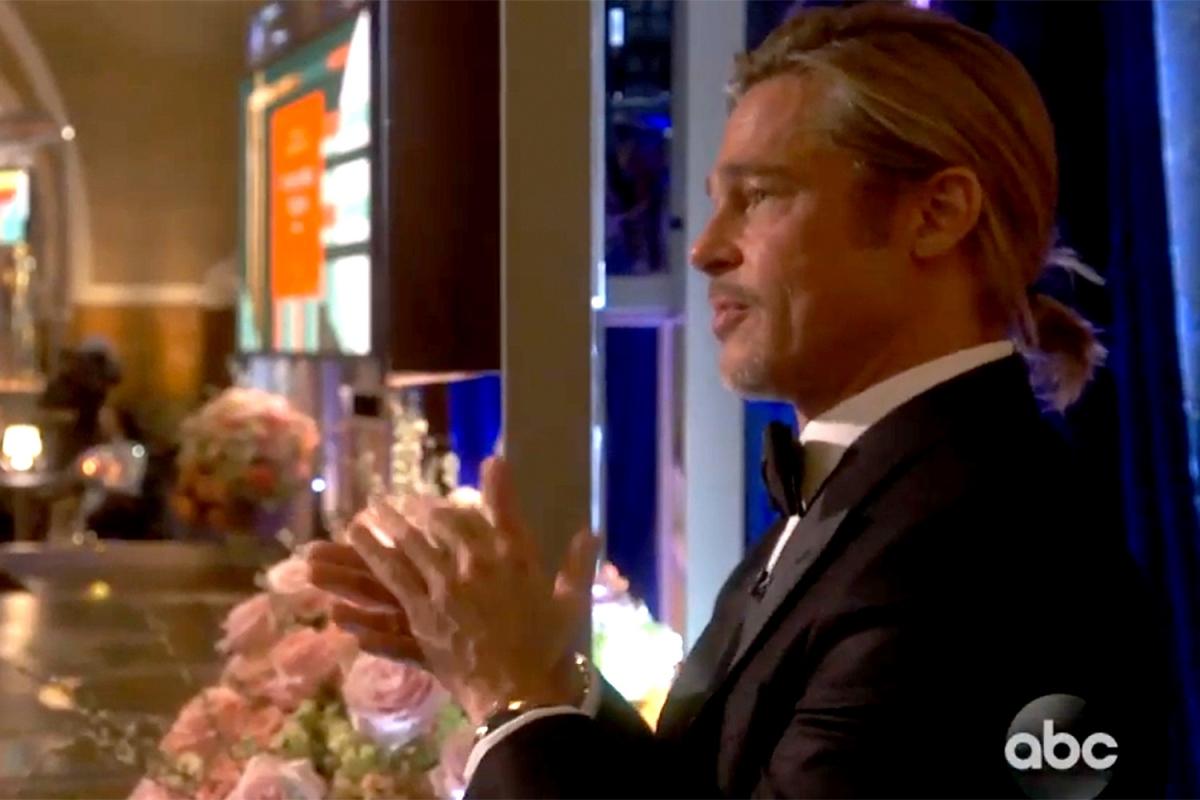 Brad Pitt xúc động khi nghe bài phát biểu củaYoun Yuh-jung. Nguồn: Abc