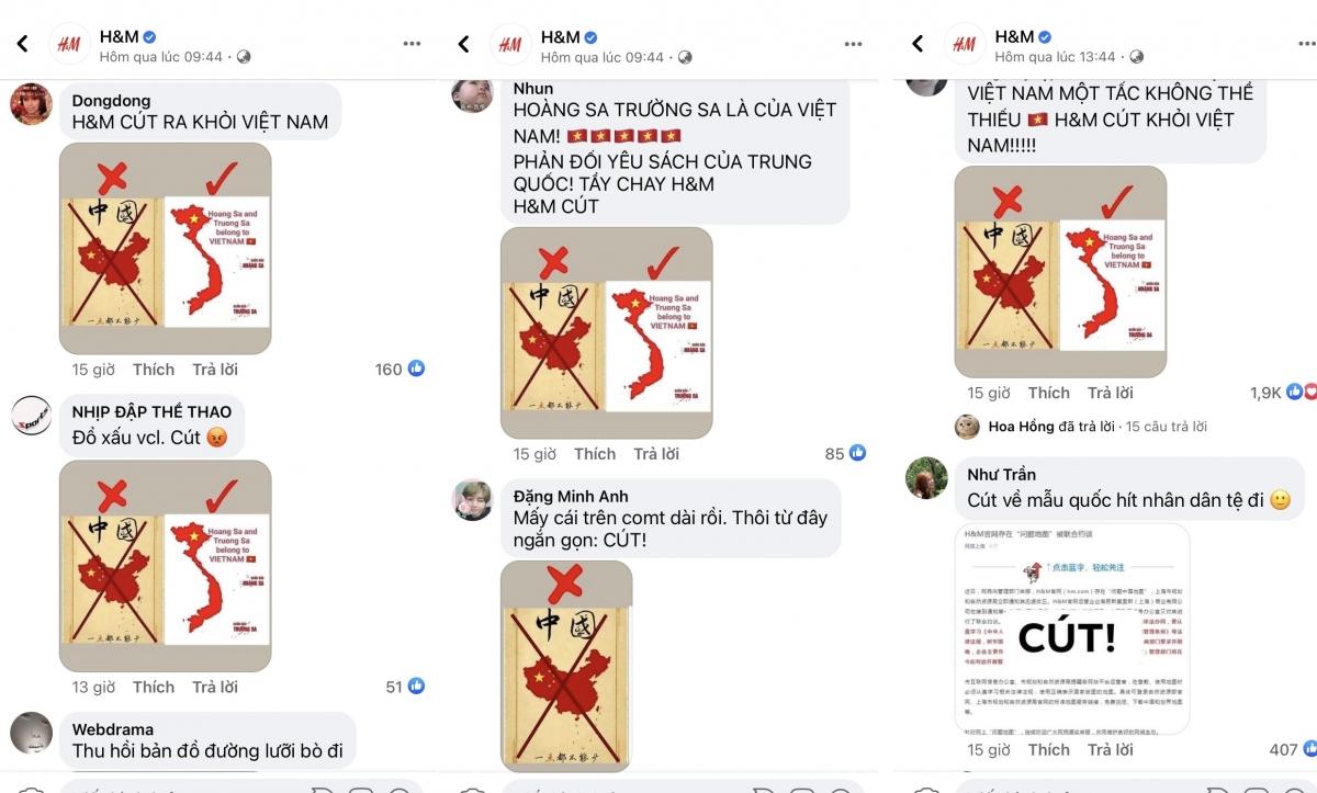 Trên trang fanpage chính thức của H&M tại Việt Nam, các bài đăng nhận hàng chục nghìn lượt phẫn nộ và bình luận phản đối.