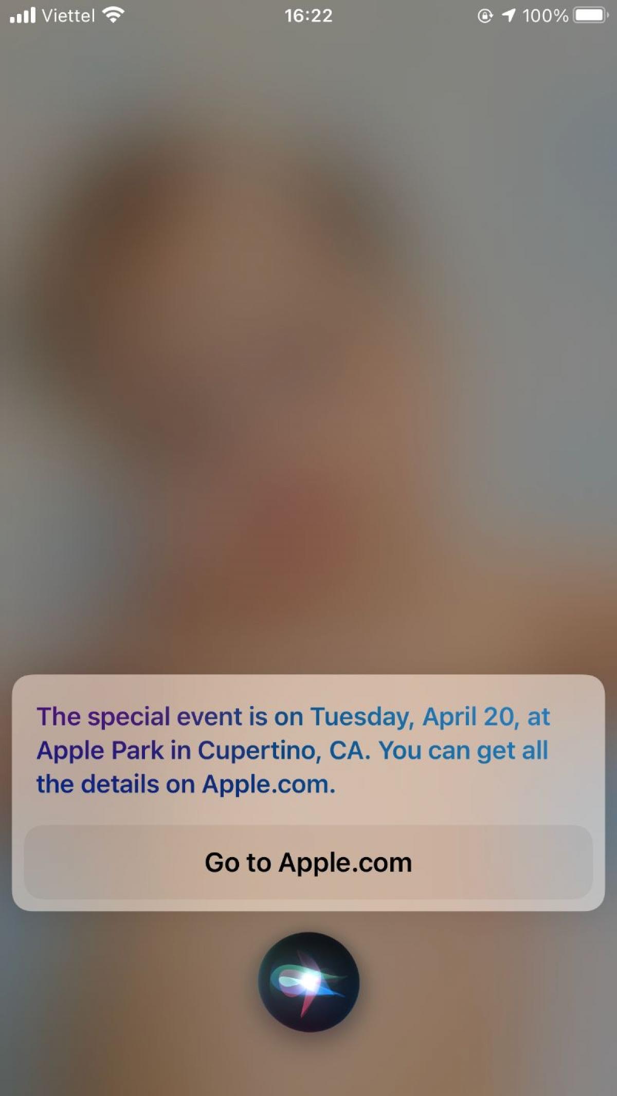 Ảnh chụp màn hình Siri cho thấy sự kiện sắp tới của Apple sẽ diễn ra vào ngày 20/4.