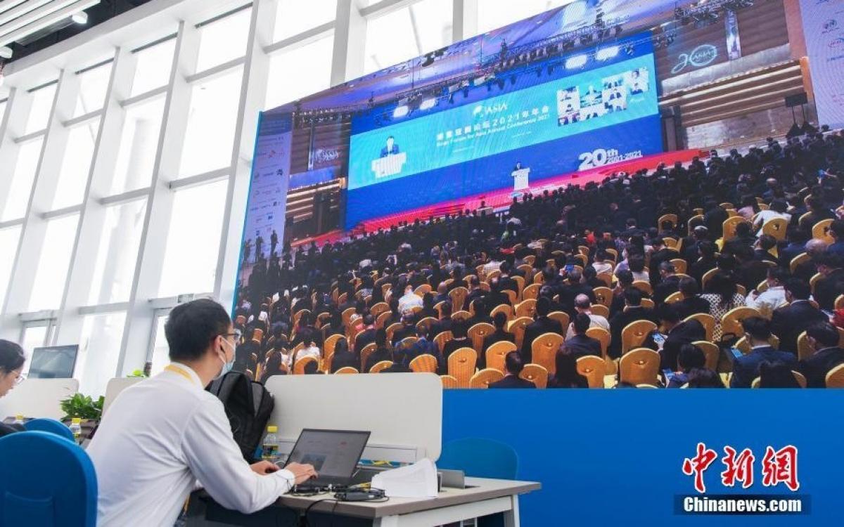 Khai mạc Hội nghị thường niên của Diễn đàn châu Á Bác Ngao 2021. Ảnh: Chinanews.