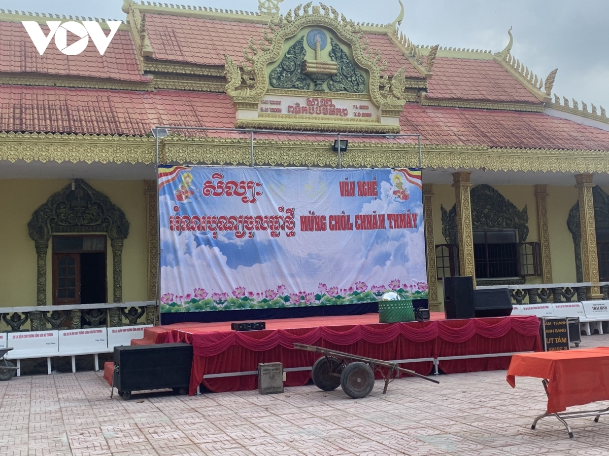 A stage is erected in preparation of musical performances.