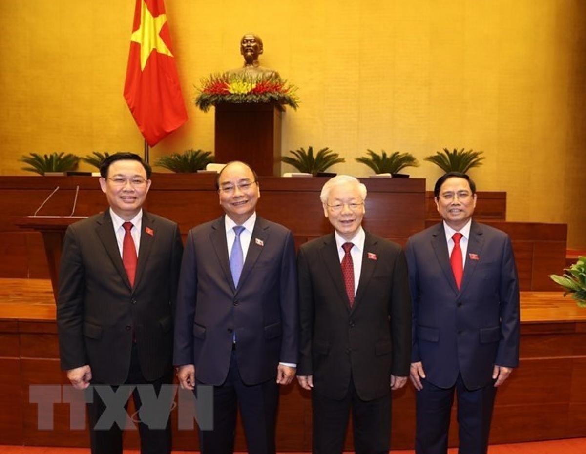 From left: NA Chairman Vuong Dinh Hue, PresidentNguyen Xuan Phuc, Party General Secretary Nguyen Phu Trong, Prime Minister Pham Minh Chinh (Photo: VNA)