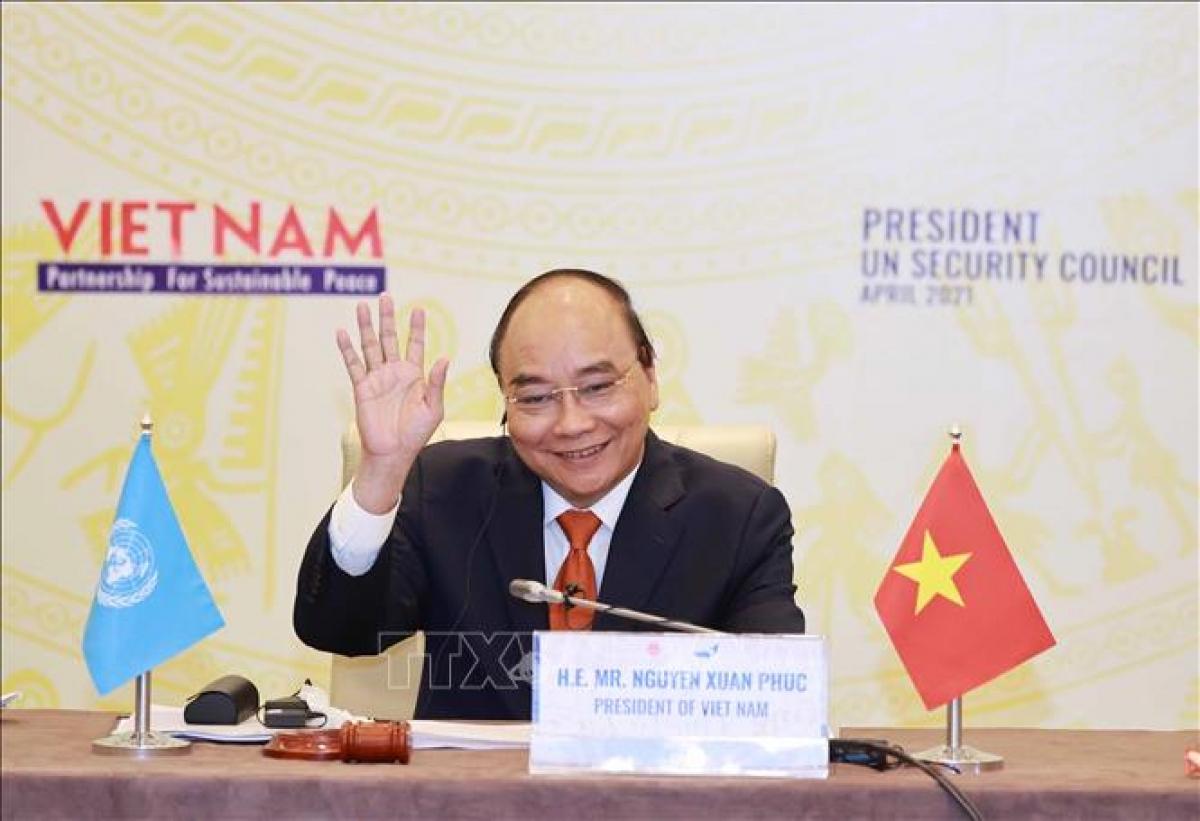 Chủ tịch nước Nguyễn Xuân Phúc chủ trì Phiên thảo luận mở Cấp cao của Hội đồng Bảo an Liên hợp quốc. Ảnh: Thống Nhất/TTXVN