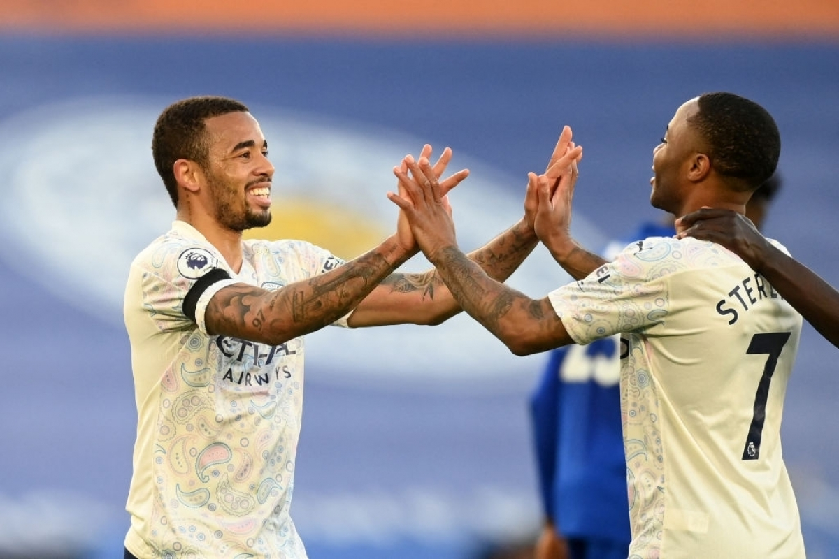 Man City đánh bại Leicester City với tỉ số 2-0 (Ảnh: Getty).