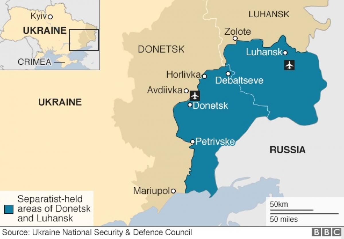 Miền đông Ukraine. Đồ họa: BBC.