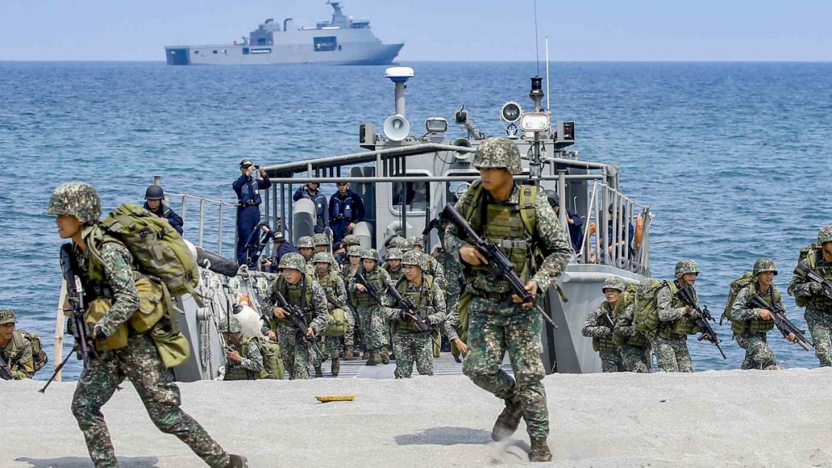 Binh sỹ Mỹ và Philippines tham gia cuộc tập trận Balikatan tháng 5/2018. Ảnh: AP