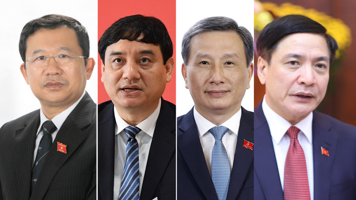 Newly elected NA General Secretary Bui Van Cuong (first from right) and three other leaders of the NA Committees: Le Quang Huy, Nguyen Dac Vinh and Vu Hai Ha (from right to left).