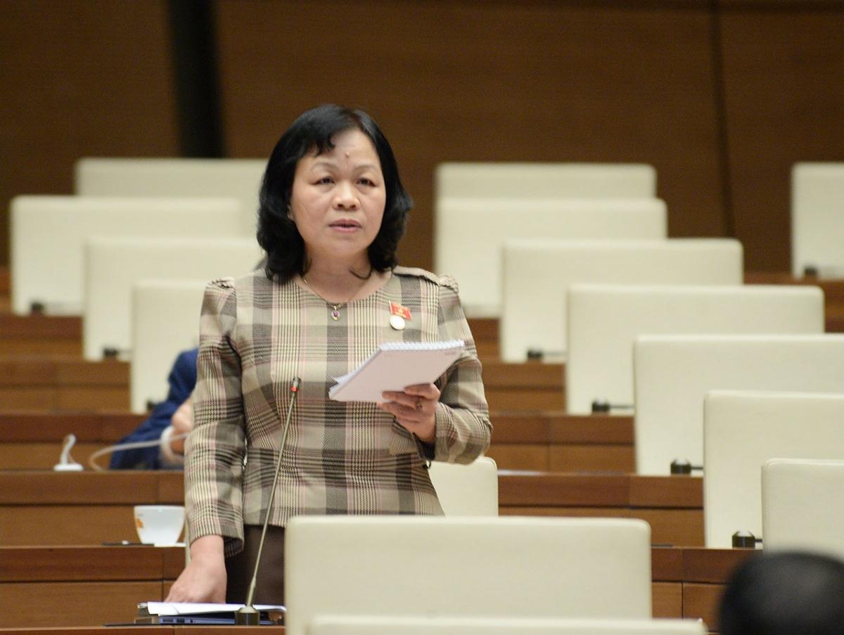 Đại biểu Nguyễn Thị Mai Hoa - Đoàn ĐBQH tỉnh Đồng Tháp phát biểu tại Kỳ họp thứ 10, Quốc hội Khóa XIV.
