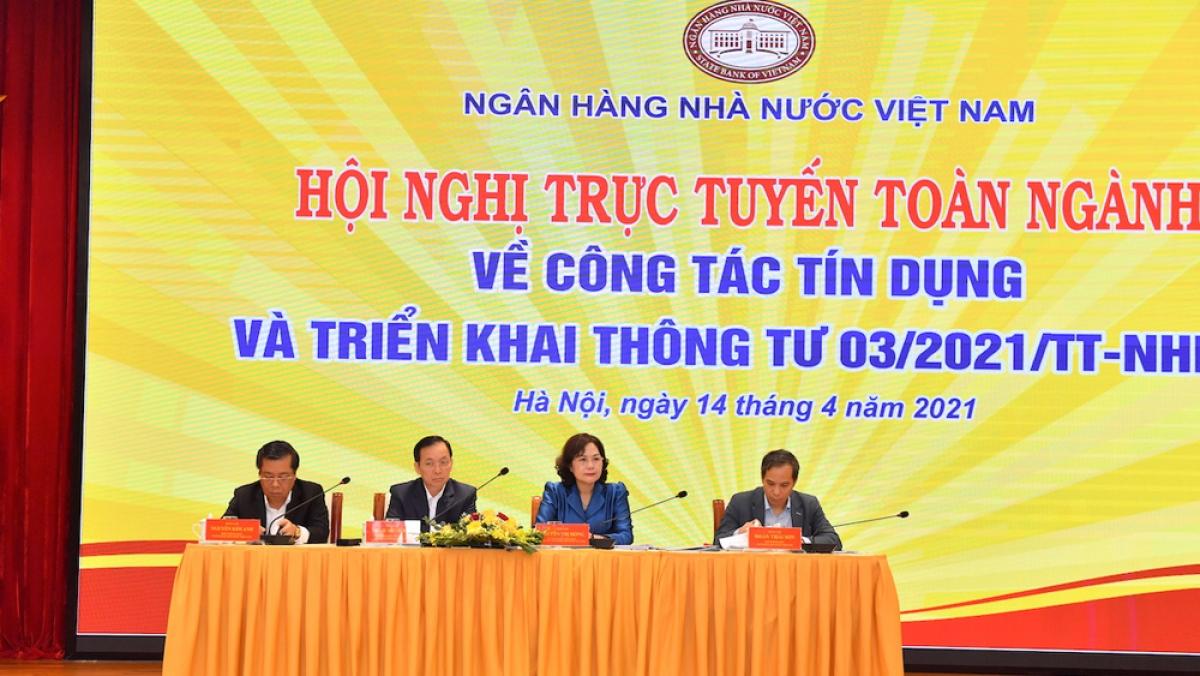 Thống đốc NHNN Nguyễn Thị Hồng chủ trì Hội nghị triển khai công tác tín dụng năm 2021 của ngành ngân hàng. (Ảnh: VGP)