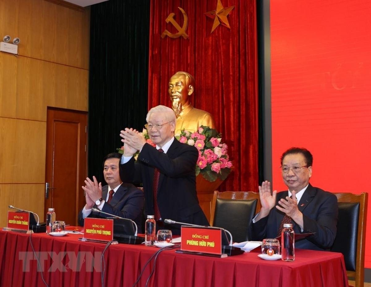 Tổng Bí thư Nguyễn Phú Trọng đến dự và phát biểu chỉ đạo hội nghị. Ảnh TTXVN