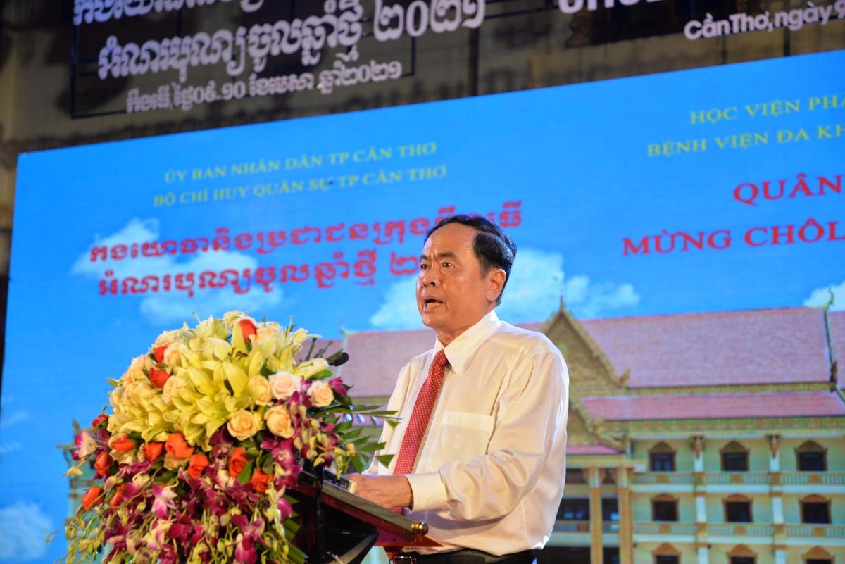 Ông Trần Thanh Mẫn, Ủy viên Bộ Chính trị, Phó Chủ tịch Thường trực Quốc hội, Chủ tịch UBTW MTTQ Việt Nam phát biêu tại chương trình.