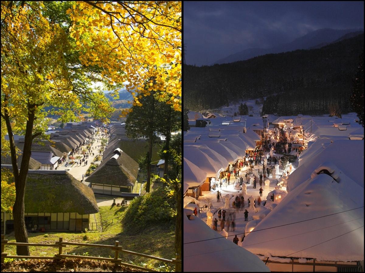 Làng cổ Ouchijuku cũng là địa điểm tuyệt đẹp mỗi khi thu sang, đông tới. Lễ hội tuyết ở Ouchijuku là sự kiện nổi tiếng, được tổ chức vào trung tuần tháng Hai, với rất nhiều sự kiện thú vị như lễ diễu hành, đèn lồng tuyết và bắn pháo hoa.