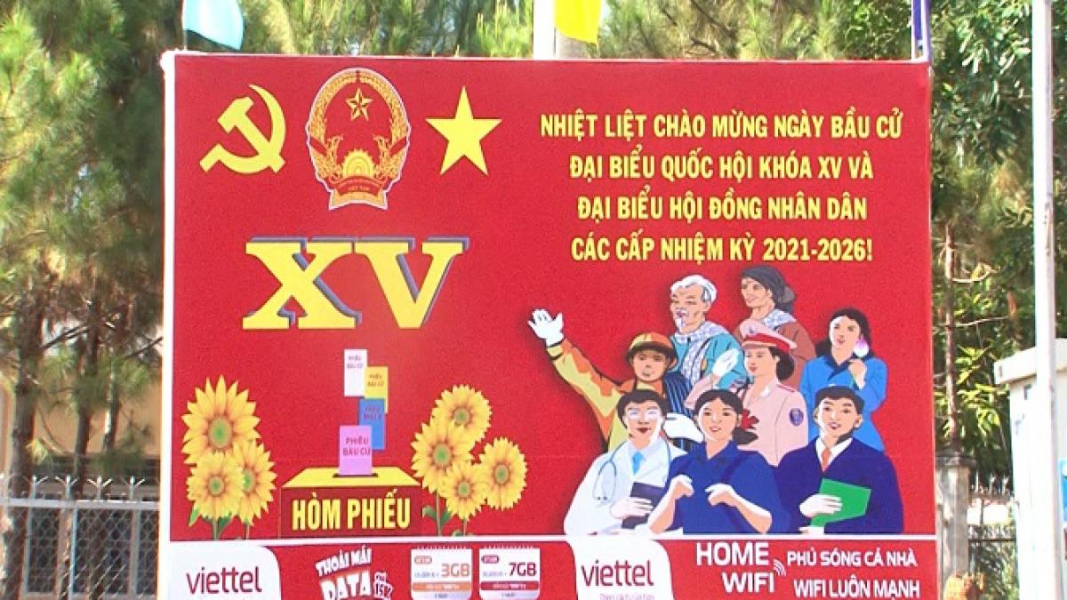Các pano tuyên truyền bầu cử tại tỉnh Đắk Nông.
