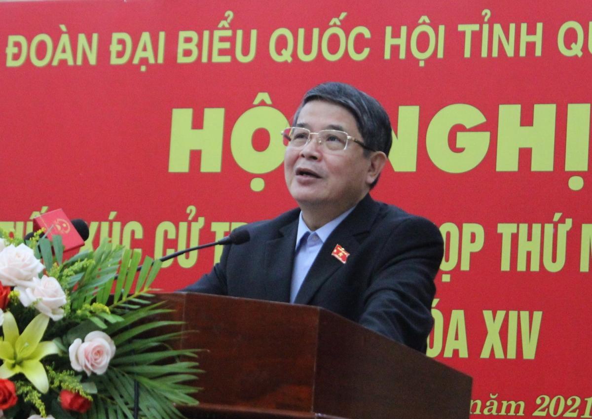Phó Chủ tịch Quốc hội Nguyễn Đức Hải phát biểu tại buổi tiếp xúc cử tri thành phố Tam Kỳ.
