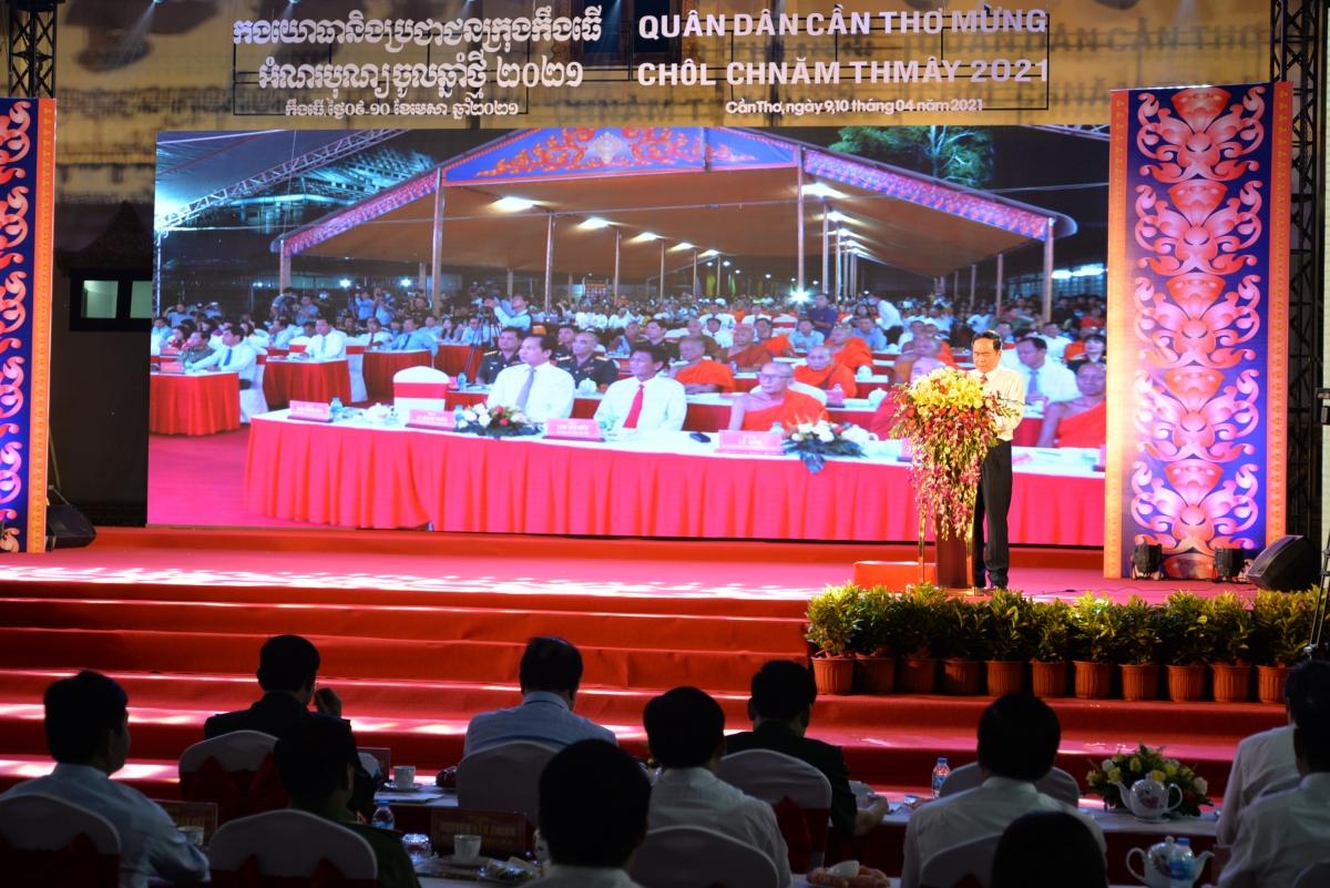 Phó Chủ tịch Thường trực Quốc hội Trần Thanh Mẫn dự Tết Quân dân mừng Chôl Chnăm Thmây.