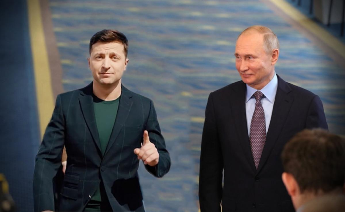 Tổng thống Ukraine Zelensky và Tổng thống Nga Putin. Ảnh: KT