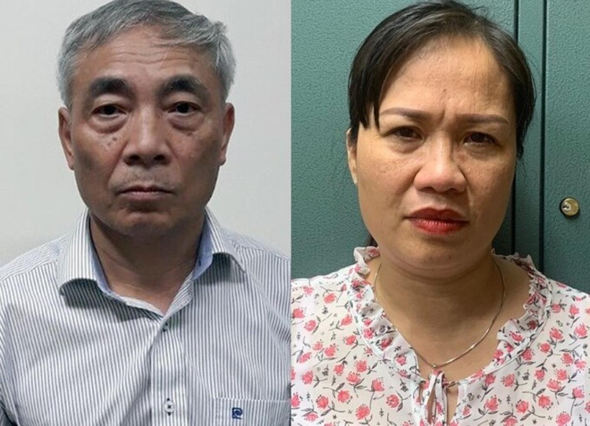 Ông Hiền và bà Thuận tại cơ quan điều tra. Ảnh: Bộ Công an
