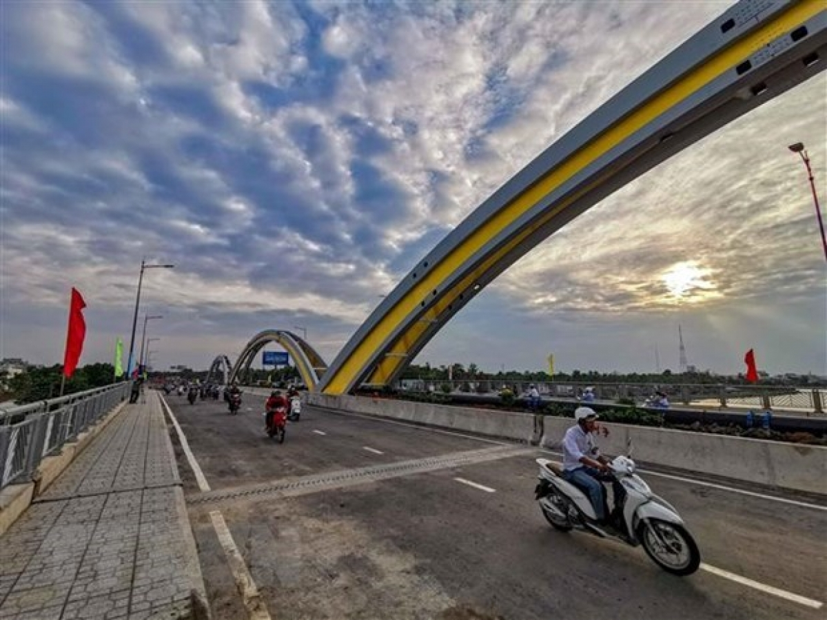 Vehicles move on Quang Trung Bridge in Can Tho city