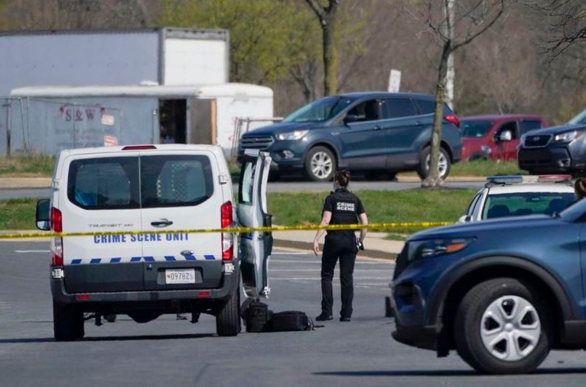 Hiện trường vụ nổ súng xảy ra ngày 6/4 gần căn cứ quân sự Fort Detrick ở Frederick, bang Maryland, Mỹ. Ảnh: AP