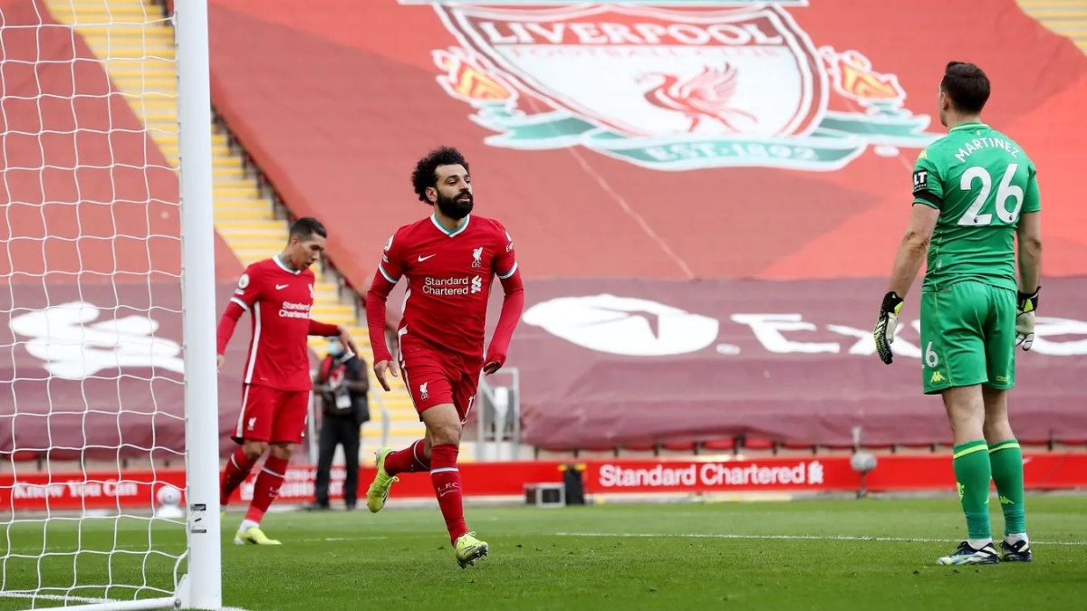 Salah gỡ hòa ở giữa hiệp 2. (Ảnh: Premier League)