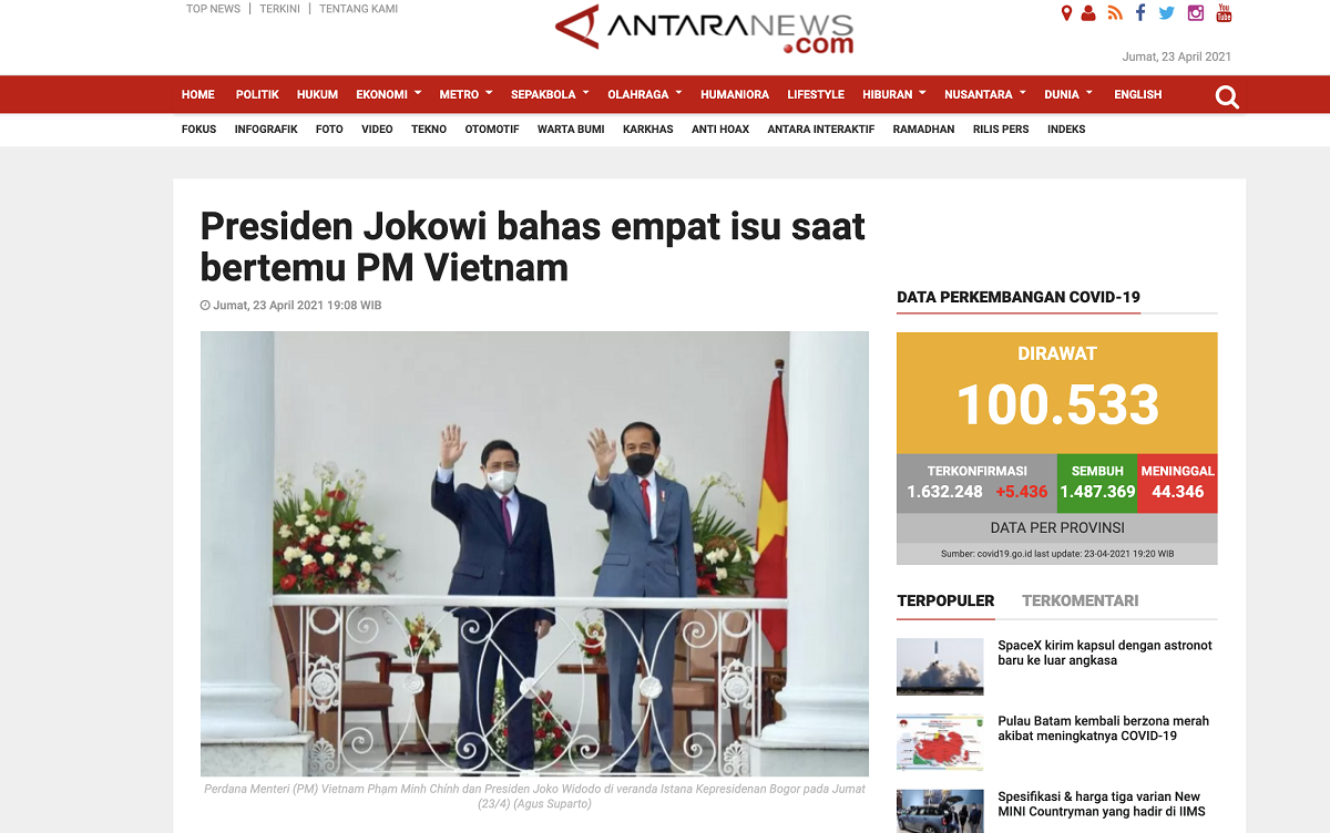 Hãng thông tấn AntaraNews đưa tin về cuộc gặp song phương của Tổng thống Indonesia và Thủ tướng Việt Nam (Ảnh chụp màn hình)
