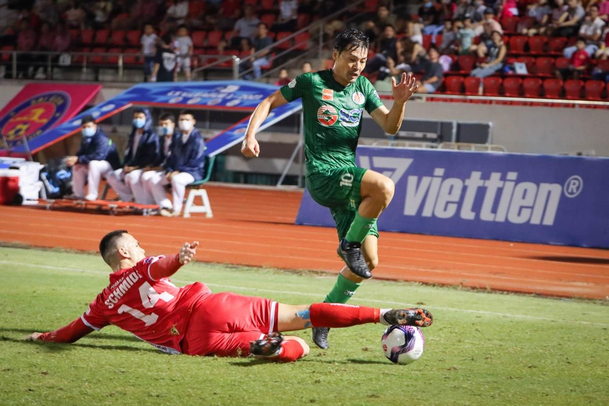 Chơi thiếu người trong phần lớn hiệp 2, Sài Gòn FC chấp nhận tỷ số hòa 0-0 với Hải Phòng. (Ảnh: Sài Gòn FC).