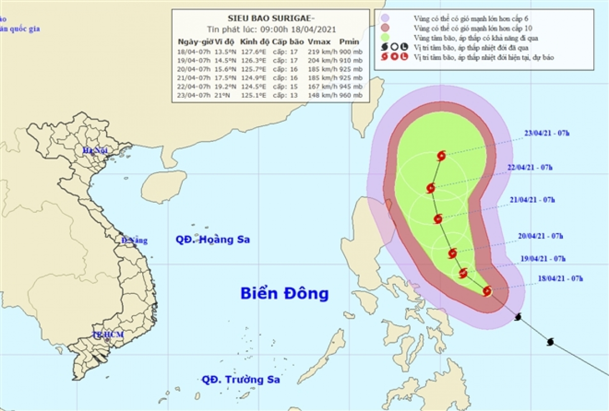 Vị trí và dự báo hướng di chuyển của siêu bão SURIGAE.