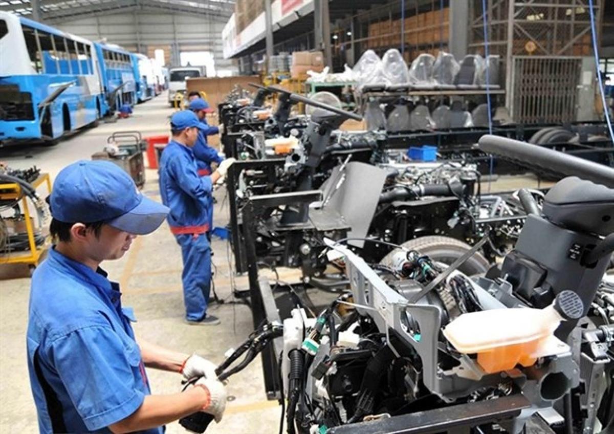 Assembling cars at Saigon Transportation Mechanical Corporation (Samco)