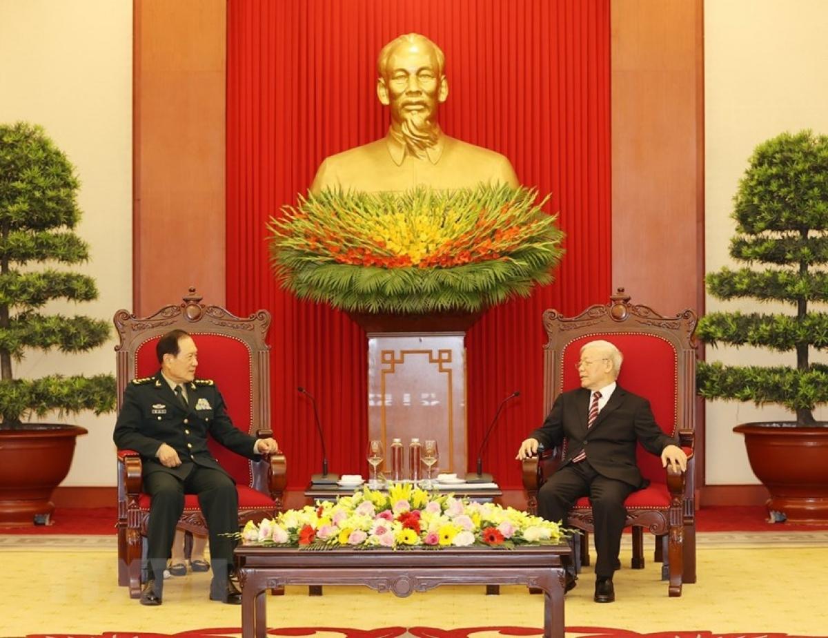 Tổng Bí thư mong muốn hai Đảng, hai nước sẽ tiếp tục nỗ lực để giữ gìn môi trường hòa bình, hợp tác trên cơ sở tôn trọng lợi ích chính đáng của nhau... (Ảnh: TTXVN)