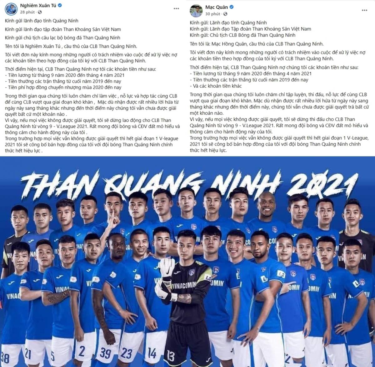 """Cầu thủ Than Quảng Ninh đồng loạt đăng tải """"tâm thư"""" trên trang cá nhân."""