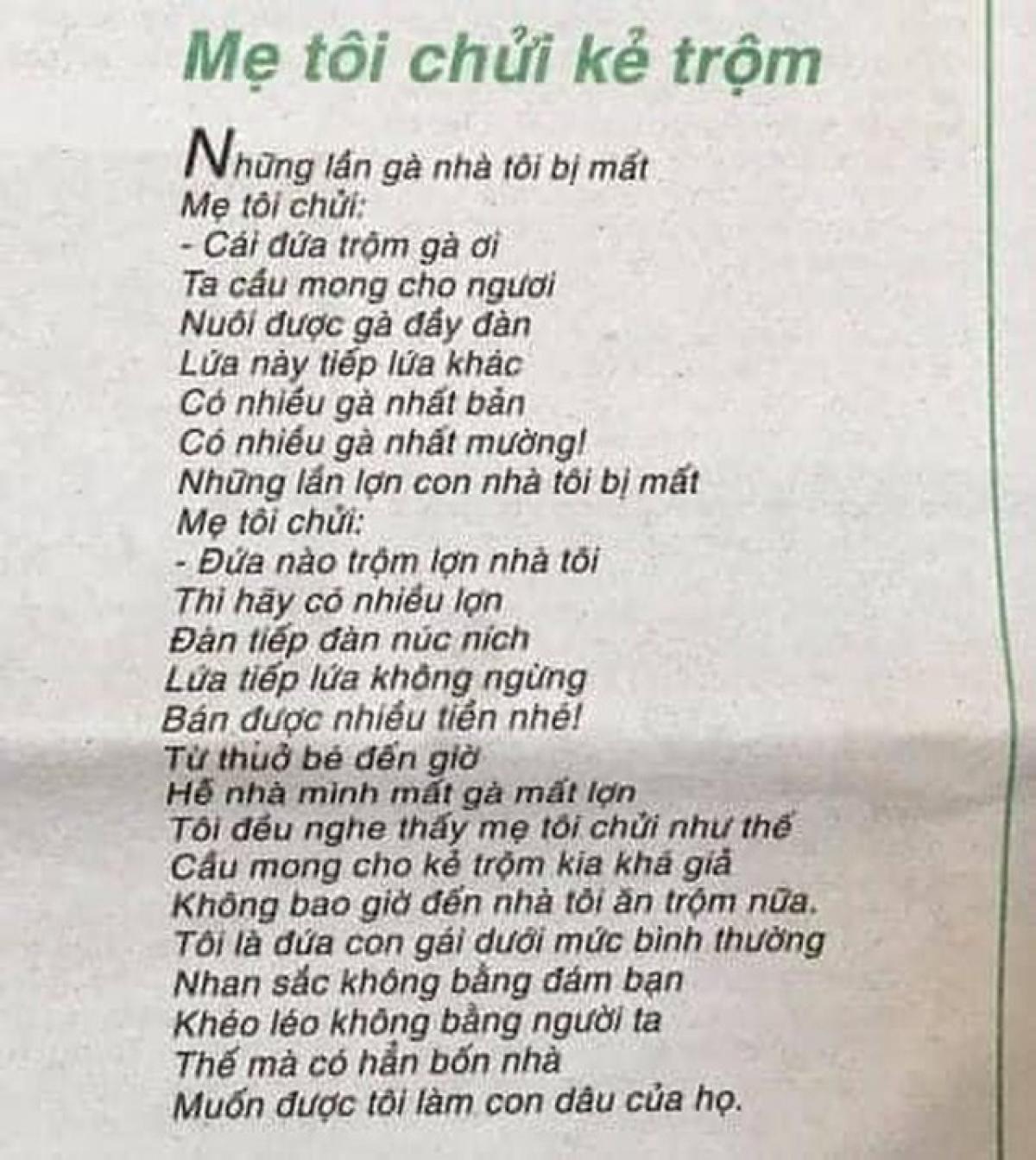 """Bài thơ """"Mẹ tôi chửi kẻ trộm"""" gây tranh cãi."""