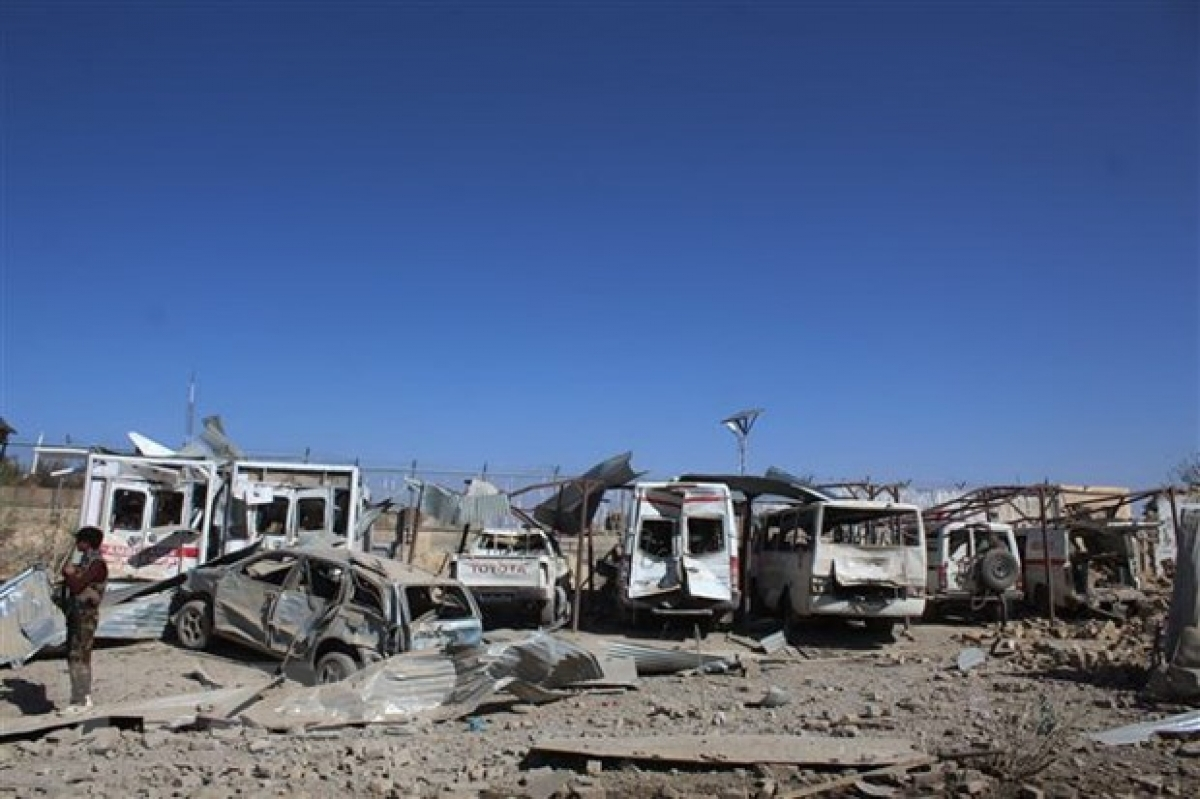 Hiện trường một vụ đánh bom ở Afghanistan. (Ảnh: THX/TTXVN).