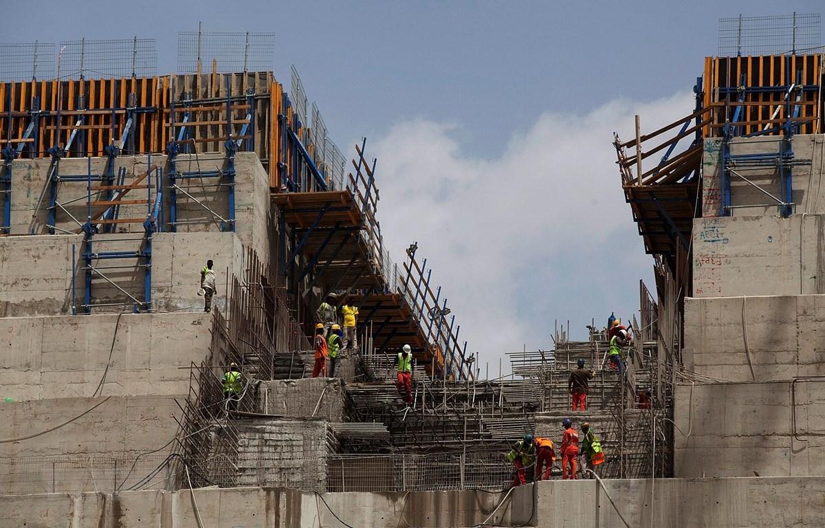 Công trường xây dựng đập thủy điện Đại phục hưng gần biên giới Sudan - Ethiopia, ngày 31/3/2015. (Ảnh: AFP)