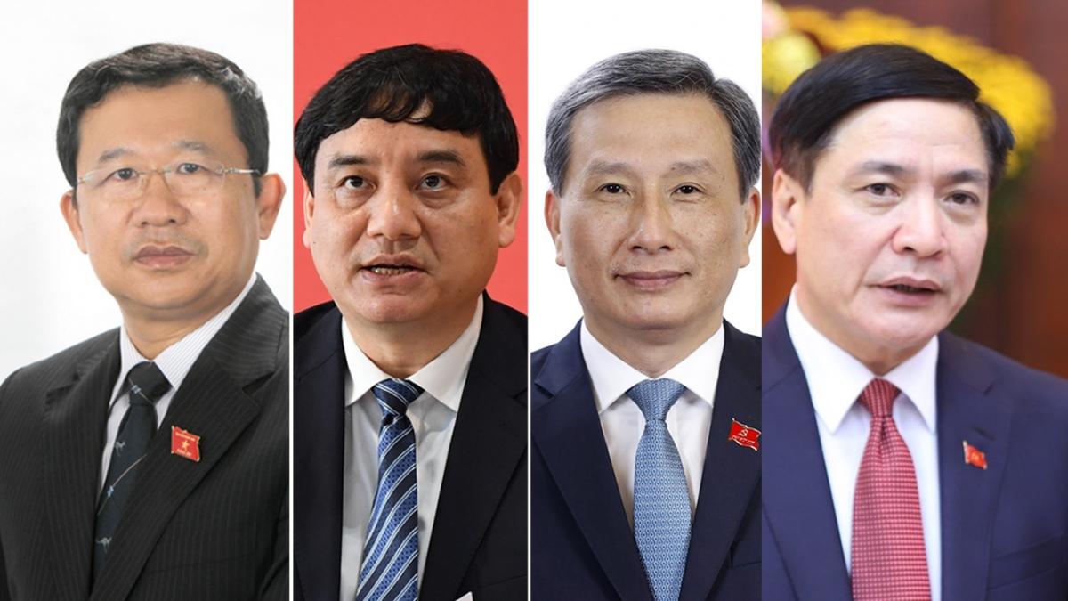 Từ trái qua phải: Ông Vũ Hải Hà, ông Nguyễn Đắc Vinh, ông Lê Quang Huy và ông Bùi Văn Cường