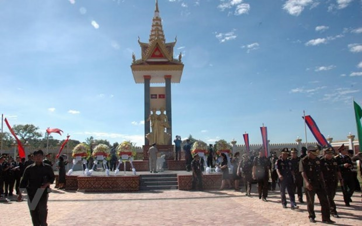 A monument dedicated to fallen voluntary Cambodian and Vietnamese soldiers in Stung Streng province.