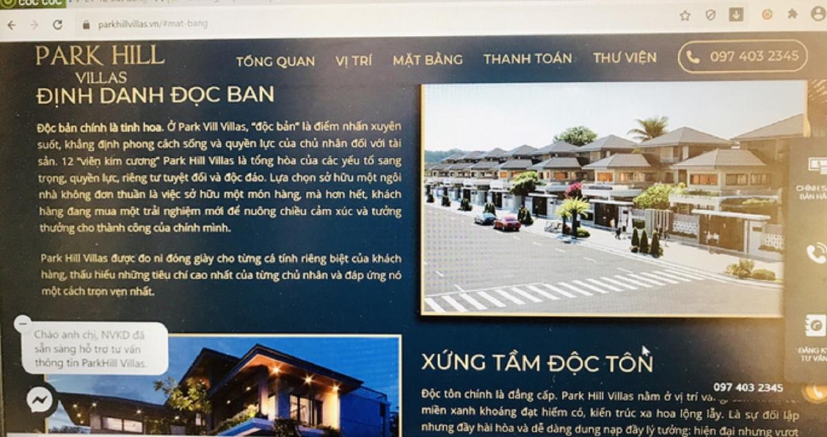 Nội dung quảng cáo thổi phồng sự thật về dự án Khu nghỉ dưỡng Park Hill Villas.