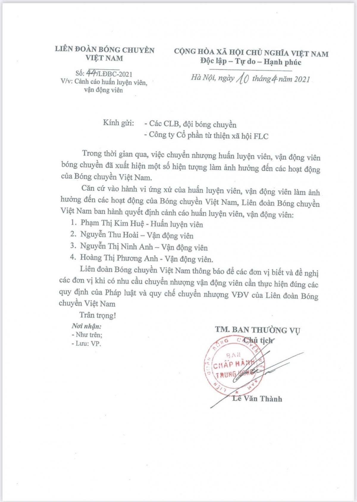 """Án phạt kỷ luật mà HLV Kim Huệ và 3 học trò ở CLB bóng chuyền Ngân hàng công thương """"bất ngờ"""" nhận từ Liên đoàn."""