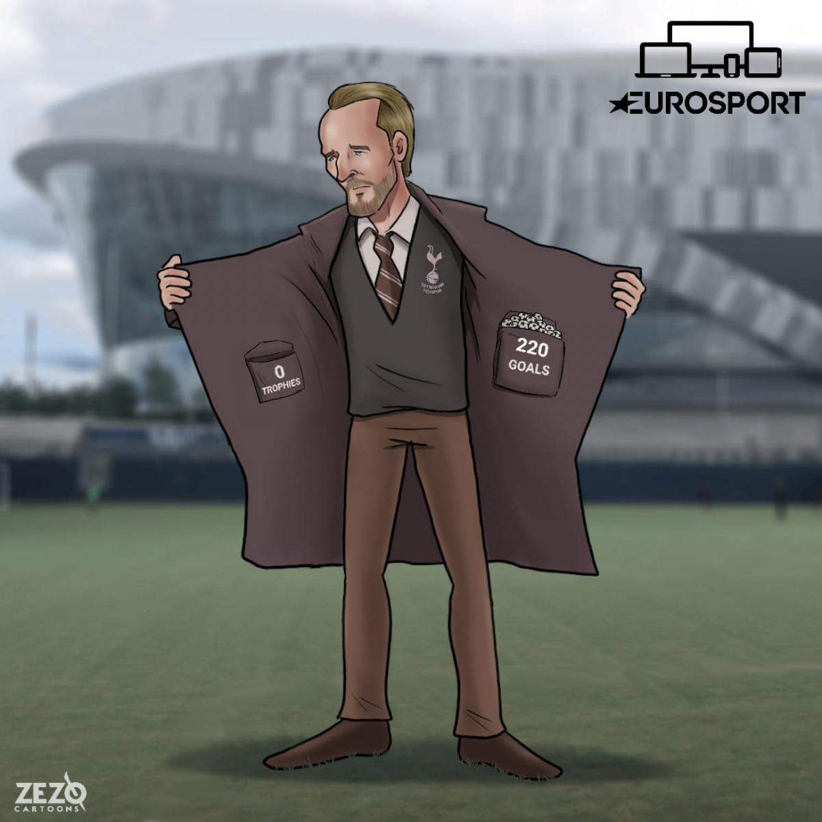 Đã đến lúc Harry Kane phải rời Tottenham để tìm bến đỗ mới. (Ảnh: Zezo Cartoons).